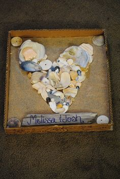 When my boyfriend and I went to the beach for the first time I picked up pieces of broken and intact seashells and made this shadow box out of cardboard. :)