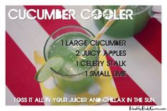 Cucumber Cooler Juice Recipe   I made this with pear rather than apple and a bit of lemon rather than lime. it was sooo good! I'll try it this way next time.