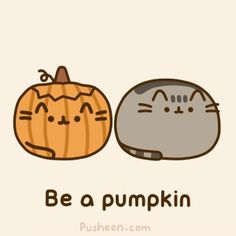Pusheen being a pumpkin.