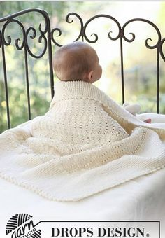 Princess Chantilly / DROPS Baby - Knitted baby blanket with wave pattern in DROPS Merino Extra Fine or Sky Baby Knitting Patterns, Free Baby Blanket Patterns, Knitting For Kids, Baby Patterns, Free Knitting, Drops Design, Drops Baby, Baby Barn, Baby Shawl