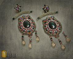 Onyx, Swarovski and Sterling Silver Statement Swarovski Earrings Beaded by Esther Marker