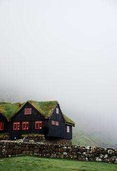 bluepueblo:  Foggy Day, Kirkjubøur, Faroe Islands photo via bobby