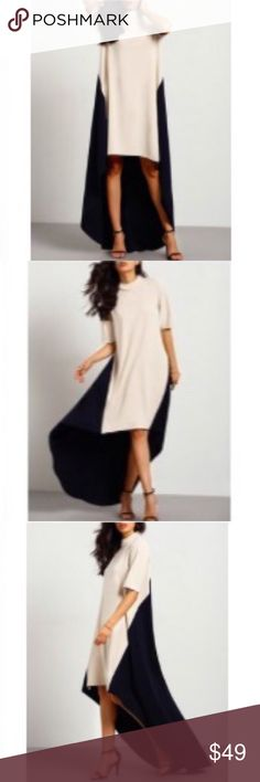 |HP| 🆕 CREAM/ BLACK COLOR BLOCK DRESS Let's go OUT! Dinner and Dancing. Meet the Captain! Anniversary Party. A Wedding! Great heels. Great hair. Lip Color. High round neck. Short sleeves. Gold zipper in the rear. High low. Knee length. Nice weight. Some stretch. Polyester. -No trades 51twenty Dresses High Low