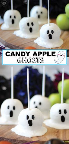 There is nothing more fun than Halloween treats. This year make candy apple ghosts. Using only four ingredients you can make these spectacular ghosts for your kids and their friends. Since you are using apples, your child will also get some healthy fruit. Halloween Desserts, Halloween Candy Apples, Fröhliches Halloween, Halloween Food For Party, Halloween Sewing, Halloween Cakes, Halloween Decorations, Cake Pops, Jolly Rancher