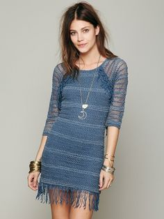 Nightcap Fringed Crochet Raglan Dress