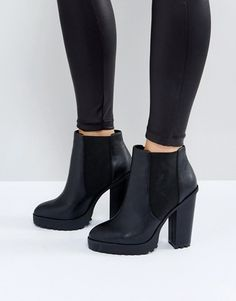 Buy ASOS ETERNAL Chelsea High Ankle Boots at ASOS. Get the latest trends with ASOS now. Black Heeled Ankle Boots, Cute Ankle Boots, Black High Heels, High Heel Boots, Cute Shoes, Ankle Booties, Bootie Boots, Shoe Boots, Black Booties