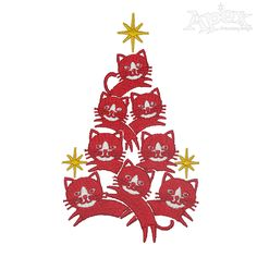 Cat Christmas Tree Embroidery Design