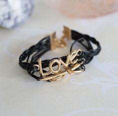 Black Love Charm Bracelet $10 NZD Love Charms, Black Love, Valentine Day Gifts, Charmed, Bracelets, Gold, Leather, Jewelry, Jewlery
