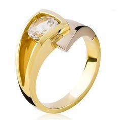 Anel de Ouro Amarelo com Topázio Branco - Anéis - Joias