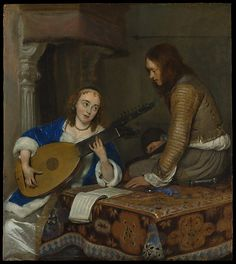 ♪ The Musical Arts ♪ music musician paintings - Gerard ter Borch the Younger   A Woman Playing the Theorbo-Lute and a Cavalier, c. 1658