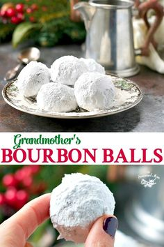 My Grandmother's Bourbon Balls The perfect easy Christmas cookie! My Grandmother's Kentucky Bourbon Balls are a no-bake dessert that only requires 5 ingredients and a few minutes of prep! Christmas Snacks, Christmas Cooking, Holiday Treats, Holiday Recipes, Christmas Parties, Easy Christmas Recipes, Christmas Time, Easy Holiday Desserts, Thanksgiving Sides