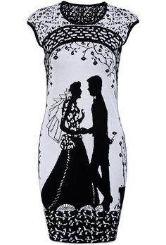 White Black Sleeveless Wedding Pattern Sweater Dress US$34.43