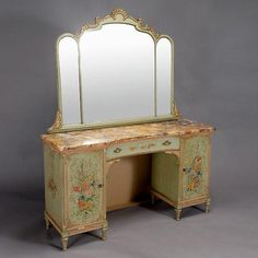 Louis XV Style Painted Vanity with Marble Top and Mirror {Height of mirror 36 inches; dimensions of vanity 29 1/4 x 52 x 16 inches}