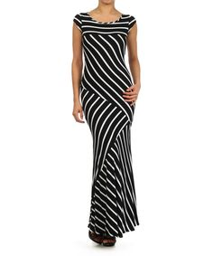J-Mode USA Los Angeles Black Stripe Cap-Sleeve Maxi Dress | zulily