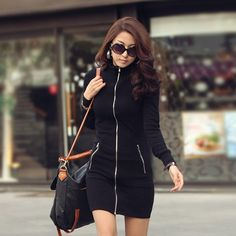 2013 new fashion women's jacket,slim zipper long-sleeve dress,spring autumn clothing,black S-XXXL US $35.86 Now at Enjoy any 20% discuont on any bulk order above 10 pieces Go now and fill in our contact form after which you fill the order form.  http://facebook.com/Onlineshopping.mart. we care about you