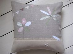 Ticketty Boo. Ticketty Boo linen applique flower and bunting cushion