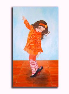 Original wall art oil painting Little girl by:-oilpaintingsChrista