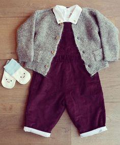 Gorgeous Autumnal colours -  Olivier Baby dungarees  Roly Pony bodysuit Tocoto Vintage cardigan Petites Pattes socks