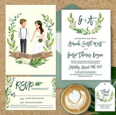 Browse unique items from ohlillydesigns on Etsy, a global marketplace of handmade, vintage and creative goods. Illustrated Wedding Invitations, Minimalist Wedding Invitations, Unique Wedding Invitations, Wedding Card Design, Wedding Designs, Invitation Design, Invitation Cards, Buch Design, Wedding Illustration