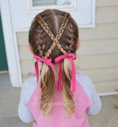 "576 curtidas, 27 comentários - Tiffany ❤️ Hair For Toddlers (@easytoddlerhairstyles) no Instagram: ""For this style, I started with two front ponies. I did French braids on the bottom and then did two…"""