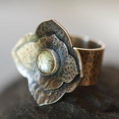 Ring | Diane of Petaluna Designs.  Oxidized silver, green amethyst.