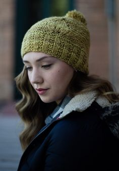 Loving the beautiful leaf motif on this knitted hat. And that pom-pom--too cute! Get the instructions in Spin and Knit magazine (whether you use handspun or not, it's a great hat)