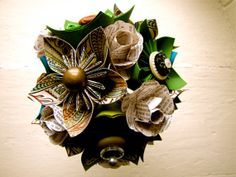 Paper Flower Wedding Bouquet Green Teal Book by TheLittleRedButton, $100.00