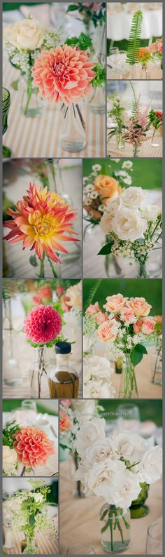 Love these dahlias- rehearsal dinner decor maybe? Stripes in wedding colors