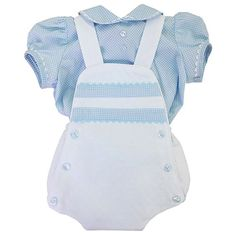 Blue Gingham Luxury Baby Boy's Romper