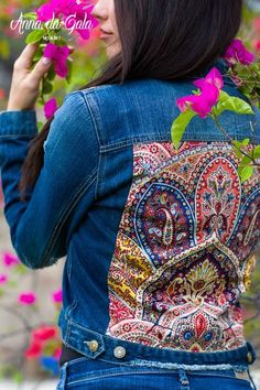 Blue Denim jacket embellished jacket palace by AnnaDaGalaOfficial