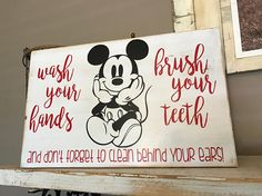 This Mickey Mouse Bathroom Sign is just one of the custom, handmade pieces you'll find in our signs shops. Disney Themed Rooms, Disney Rooms, Disney Home Decor, Disney Diy, Disney Ideas, Disney Stuff, Disney Mickey, Mickey Bad, Mickey Mouse Bathroom