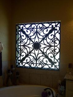 Faux iron is the rage! It's light weight, weather resistant for outdoor use, and a decorative alternative to blinds