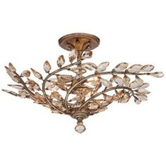 """Cypress 23"""" Wide Brass and Crystal Ceiling Light -"""