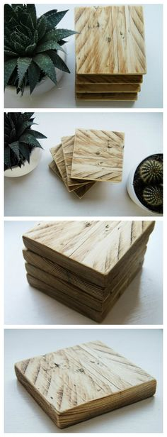 4 Handmade coasters made from recycled pallets. They have been sanded smooth and varnished to create a warm wood effect that looks great in any home