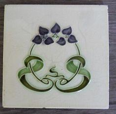 """Original English Art Nouveau tile , c1905 6""""x6""""Tile 486"""
