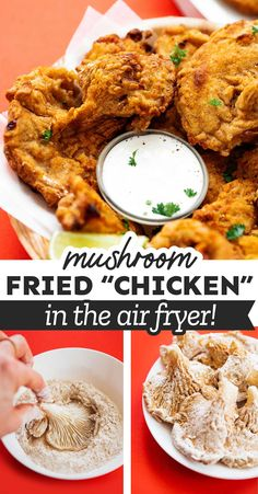 This Buttermilk Fried Mushrooms recipe is about to revolutionize your vegetarian cooking. With fried oyster mushrooms and a crunchy coating, it tastes just like fried chicken! So full or flavor and a great healthy air fryer recipe for vegetarians and meat-eaters alike. #airfryer #vegetarian #vegetarianrecipes #friedchicken #comfortfood