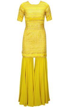 Mustard yellow and gold embroidered kurta set with gharara pants by Astha Narang. Shop at: http://www.perniaspopupshop.com/designers/astha-narang #kurta #gharara #pants #clothing #asthanarang #perniaspopupshop #shopnow