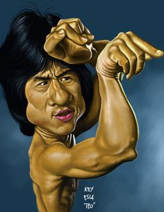 Jackie Chan Caricature Drawing by Indian Artist Mahesh Nambiar
