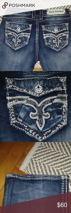 """Rock Revival Bootcut Jeans These jeans are gorgeous and very comfortable. They are mid rise and hug you in every way. The inseam is 34"""" and these are a size 28 with slight stretch. No distressing or rips other than the factory stressing on the knee. Price is firm Rock Revival Jeans Boot Cut"""