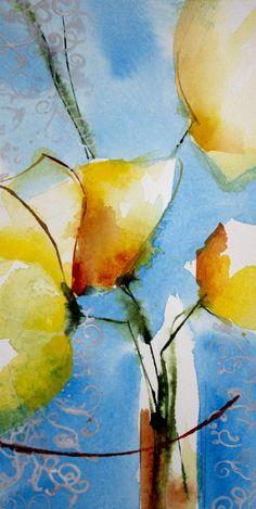 Petit instant N° 310 (Painting),  20x10 cm par Véronique Piaser-Moyen Aquarelle originale sur papier 300G