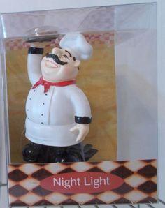 Nwt Italian French Fat Chef Theme Night Light Bistro Light Kitchen Decor Pizza