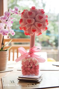 Breast Cancer Sweet Tree with Marshmallows from Cuckooland.  Review by A Mummy Too! xxx