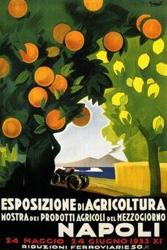 1933 ORANGE NAPOLI TRAVEL TOURISM EUROPE ITALY ITALIA LARGE VINTAGE POSTER REPRO: Amazon.com: Home & Kitchen