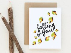 I love you card  Falling for you  Fall Greeting by adoridesigns