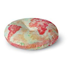 """East Urban Home Alison Coxon Oh The Places We'll Go World Map Round Floor Pillow Size: 26"""" x 26"""""""