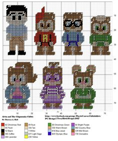 ALVIN AND THE CHIPMUNKS CHIBIS Plastic Canvas Ornaments, Plastic Canvas Tissue Boxes, Plastic Canvas Christmas, Plastic Canvas Crafts, Plastic Canvas Patterns, Geek Cross Stitch, Cross Stitch Bookmarks, Cross Stitch Patterns, Hama Beads Patterns