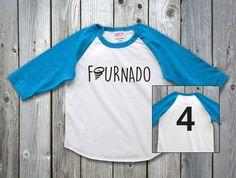 Fournado Four Year Old Boy Shirt Fourth Birthday 4th Girl Outfit