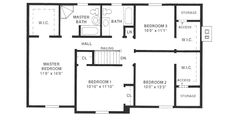 Traditional Style House Plan - 4 Beds 3 Baths 2222 Sq/Ft Plan #12-121 Upper Floor Plan - Houseplans.com
