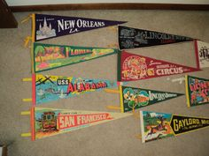 10 VINTAGE SOUVENIR PENNANTS A Collection consisting of a by RRGS