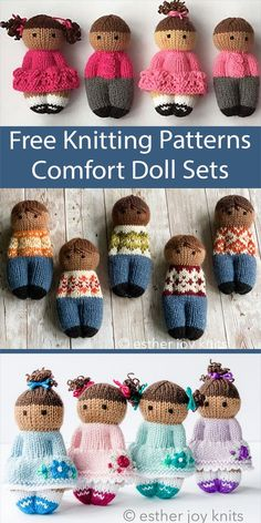 """Free Doll Knitting Pattern Comfort Doll Sets Inspired by the comfort dolls for charity knitting, these easy dolls are knit in one piece from the bottom up. Options for knitting flat or in the round are included. Pictured patterns are Pretty Izzy Dolls, Fairisle Friends, and Flower Girls. Sizes depends on yarn weight: Fingering 4 3/4""""; DK/Sport 5 1/4""""; Worsted 6"""". Great stashbusters! Designed by Esther Braithwaite. Knitting Dolls Free Patterns, Knitted Dolls Free, Knit Patterns, Stitch Patterns, Knitting For Charity, Knitting For Kids, Free Knitting, Cute Crochet, Crochet Toys"""